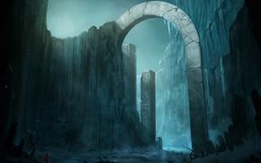 Обои холод, снег, горы, скалы, арт, арка, путник, колонна, blinck