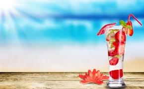 Обои стакан, клубника, коктейль, морская звезда, клубничный мохито