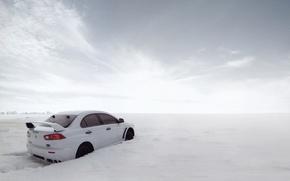 Картинка снег, сугробы, cars, auto, evolution, mitsubishi lancer
