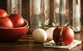 Картинка стекло, стол, яблоки, яйца, бутылки, натюрморт, половинки, салфетка, скобы, пиалы, обои от lolita777