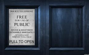Обои сериал, табличка, машина времени, Доктор кто, полицейская будка, дверь, doctor who