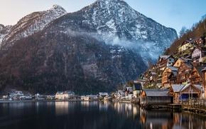 Картинка зима, лес, горы, природа, озеро, дома, Австрия, Альпы, Hallstatt, памятник ЮНЕСКО, коммуна