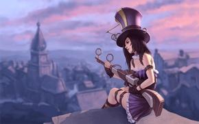 Картинка девушка, город, оружие, высота, шляпа, League of Legends