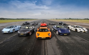 Обои небо, Ferrari 599, суперкары, mixed, Ferrari F430 Spider, Aston Martin DBS, Supercars, Ariel Atom, Porsche ...