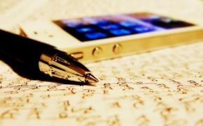 Картинка бумага, Apple, ручка, телефон, записи, gold, листки, iPhone 4S, pen, sheets, deepho