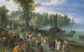 Обои пейзаж, Ян Брейгель старший, люди, торговля, Рыбный Рынок на Берегу Реки, картина