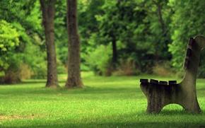Картинка лето, трава, скамейка, парк, дерево, лавочка