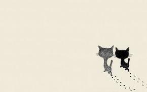 Картинка кошка, арт, пара, прогулка