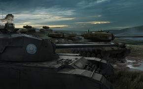 Обои оружие, renatus-z, арт, природа, shimada arisu, аниме, girls und panzer, танки, девушка, солдат, облака, небо, ...