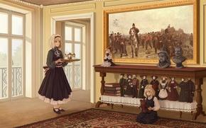 Картинка девушки, игрушки, книги, куклы, картина, медведь, арт, горничная, поднос, Touhou, Rumia, Alice Margatroid, Snanghai doll