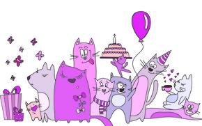 Картинка бабочки, воздушный шар, коты, кофе, шарф, подарки, сердечки, торт