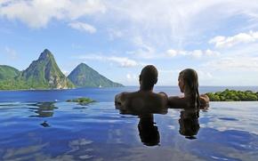 Картинка море, пейзаж, бассейн, пара