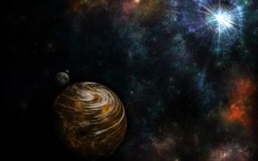 Картинка лучи, туманность, звезда, планета