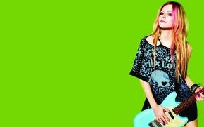 Картинка Avril Lavigne, зеленый, Аврил Лавин, бренд, фон, одежда, актриса, модель, певица, музыка, гитара, фотограф, Lotto, ...