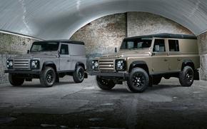 Картинка фон, ангар, джип, внедорожник, Land Rover, передок, Defender, Лэнд Ровер, 110, Дефендер, X-Tech, Wagon, Utility