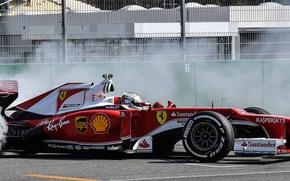Картинка дым, Ferrari, Formula 1, Vettel, F1