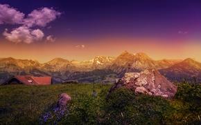 Картинка пейзаж, горы, камень, обработка, mountains, Rocks
