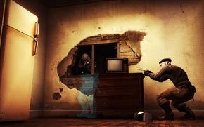 Картинка пистолет, стол, комната, стена, опасность, мрак, доски, дыра, телевизор, холодильник, автомат, рентген, дырка, ожидание, контра, …