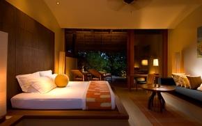 Картинка дом, диван, кровать, кресла, домик, столик, спальня, лежаки, деревья.
