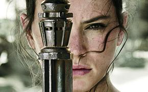 Картинка Star Wars, Girl, Fantasy, Beautiful, Warrior, Female, The, Eyes, Sand, Woman, Background, Force, Year, EXCLUSIVE, …