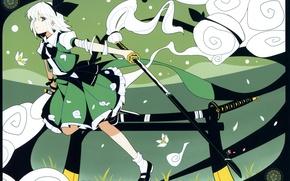 Картинка узор, катана, бант, touhou, art, ножны, konpaku youmu, myon, Touhou Project, ideolo
