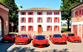 Картинка авто, машины, красный, дом, окна, Ferrari, red, Ferrari Enzo, ферарри, Ferrari F40, Ferrari LaFerrari, Ferrari …