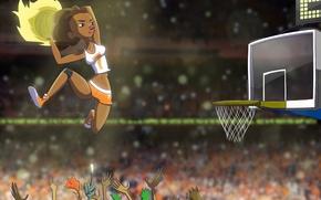 Обои девушка, прыжок, корзина, мяч, руки, арт, баскетбол, che-che