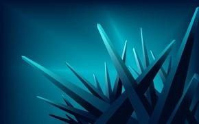 Обои лучи, углы, кристалы, синие
