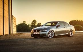 Картинка бмв, BMW, silver, wheels, E92, frontside