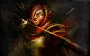 Картинка девушка, лук, лучница, арт, веснушки, рыжая, стрелы, Dota 2, Windranger, Lyralei, Digl