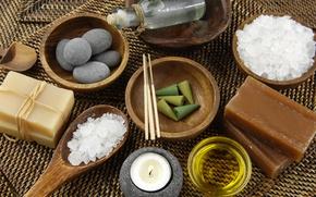 Картинка свеча, мыло, soap, Spa, спа, candle, морская соль, спа камни, sea salt, Spa rocks