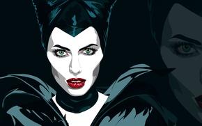 Картинка Анджелина Джоли, Angelina Jolie, Арт, Вектор, Maleficent, Малефисента