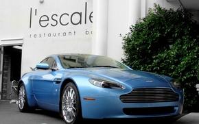Картинка Aston Martin, Vantage, wheels, blue, hrome