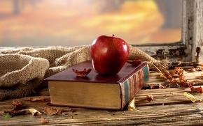 Картинка осень, листья, стол, фон, яблоко, окно, сухие, книга