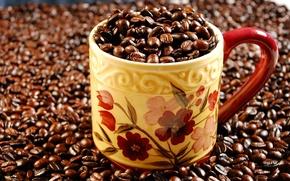 Обои зерна, макро, кружка, жаренный, кофе