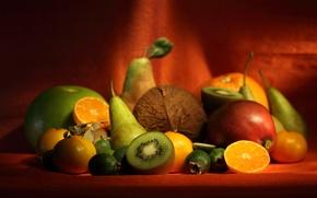 Обои ягоды, бананы, Фрукты, апетит