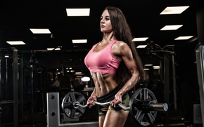 Обои female, fitness, two-hand dumbbell, barbell weight, workout, pose