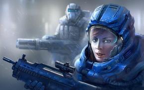 Картинка девушка, оружие, дождь, арт, солдат, броня