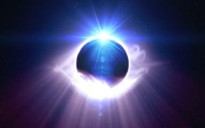 Картинка космос, звезды, свет, сияние, планета, блик