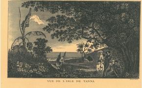 Картинка Pacific Ocean islands, New Hebrides, old engraving