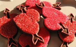 Обои печенье, сердечки, красные