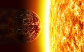 Обои солнце, планета, горит