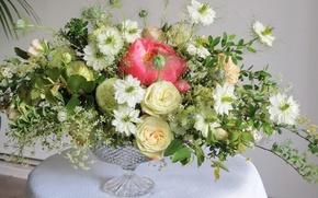Обои букеты, розы, пионы спирея, нигелла