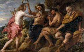 Обои картина, Аполлон Побеждающий Пана, Якоб Йорданс, мифология