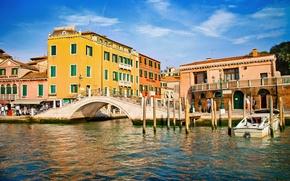 Картинка здания, дома, Италия, Венеция, канал, мостик, Italy, bridge, Venice, Italia, Venezia, kanal