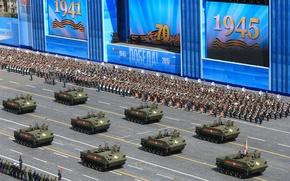 Картинка город, праздник, день победы, Москва, парад, строй, красная площадь, бронетехника