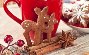 Картинка снежинки, ягоды, Новый Год, печенье, Рождество, чашка, сладости, корица, олени, Christmas, красная, выпечка, New Year, …