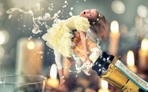 Картинка девочка, пробка, шампанское, Happy New Year 2016