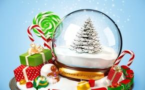 Картинка снег, украшения, шары, игрушки, елка, поезд, куклы, Поезд, подарки, сладости, Новый год, new year, balls, ...