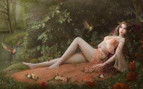 Картинка лес, девушка, цветы, птицы, рисунок, розы, платье, фея, фэнтези, арт, лежит, эльфийка, кусты, фэйри, by ...